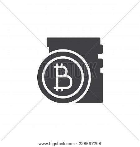 Bitcoins Stack Vector Icon. Filled Flat Sign For Mobile Concept And Web Design. Stacked Cryptocurren