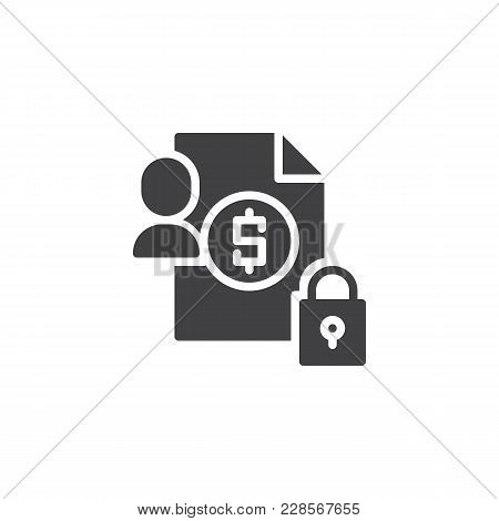 Invoice Document Protection Vector Icon. Filled Flat Sign For Mobile Concept And Web Design. Account