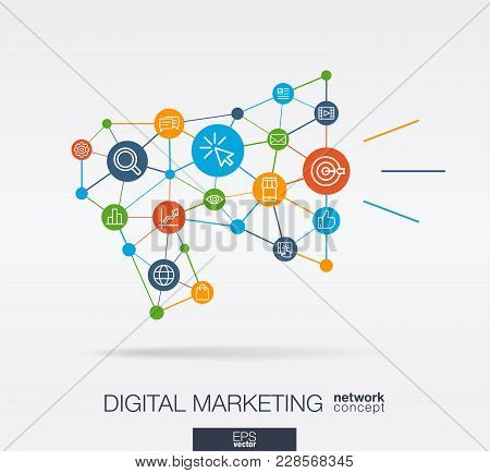 Market Integrated Thin Line Web Icons In Megaphone Message Shape. Digital Neural Network Interact Co