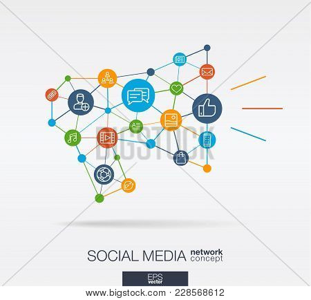 Social Media Integrated Thin Line Web Icons In Megaphone Message Shape. Digital Neural Network Inter