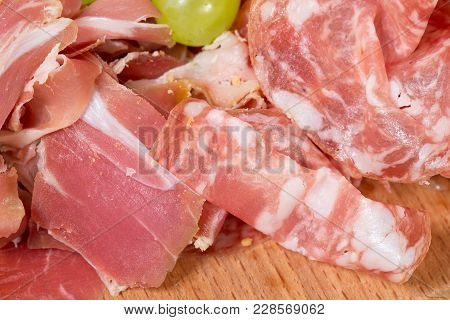 Mixed Italian Dried Meats Platter. Macro. Photo Can Be Used As A Whole Background.