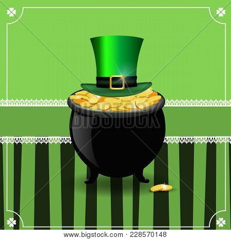 Saint Patrick's Day Card With Gold In Pot And Leprechaun Top Hat
