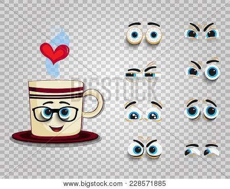 Emoji Cup In Glasses With Eyes Kit For Creating Comics Character. Adorable Doodle Steaming Mug With