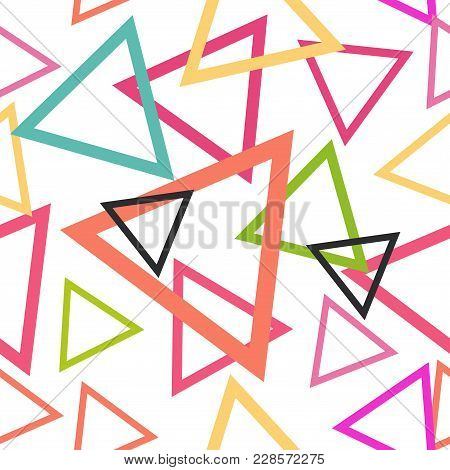 Abstract Geometric Seamless Pattern With Triangle And Line Tribal Navajo Pattern. Pink Purple Blue B