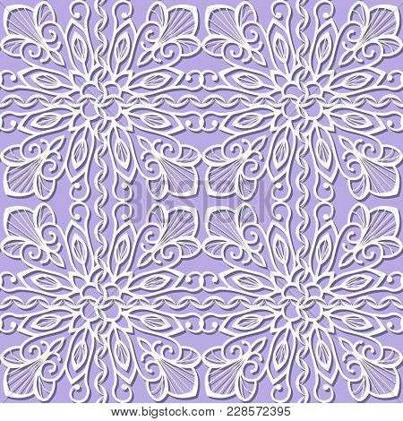 Seamless Pattern With White Flowers On A Lilac Background