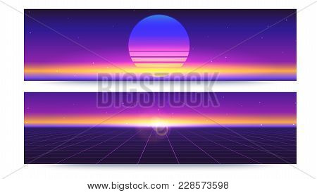 Futuristic Abstract Banners With The Sun Rays On The Horizon. Sci Fi Retro Gradient, Vintage Style O