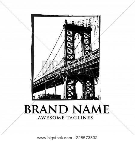 Brooklyn Bridge Silhouette Logo Design,illustration In Style Of Flat Design On The Theme Of Brooklyn