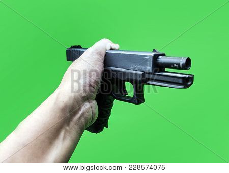 Hand Hold Short Gun To Detect Evidance
