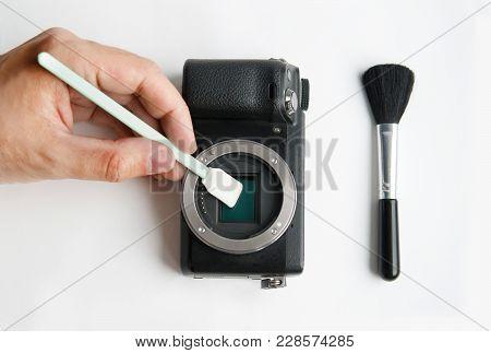 Cleaning Digital Slr Camera Sensor With Swab