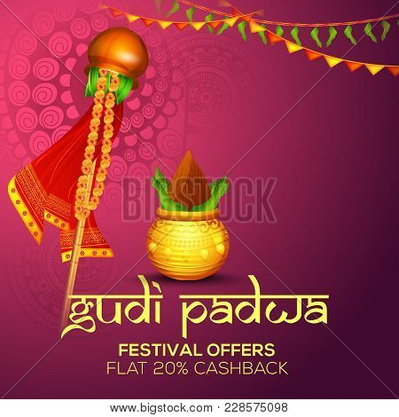 Banner Or Poster Of Occasion Gudi Padwa Celebration (lunar New Year) Background.