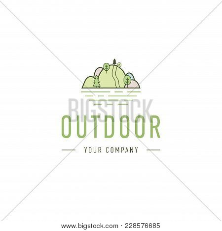 Outdoor Explorer Badge. Illustration Of Outdoor Explorer Label. Typography And Roughen Style. Outdoo