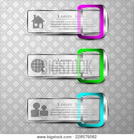 The Vector Set Of 3d Banners With 3d Square.diferent Symbol Social Home Globe