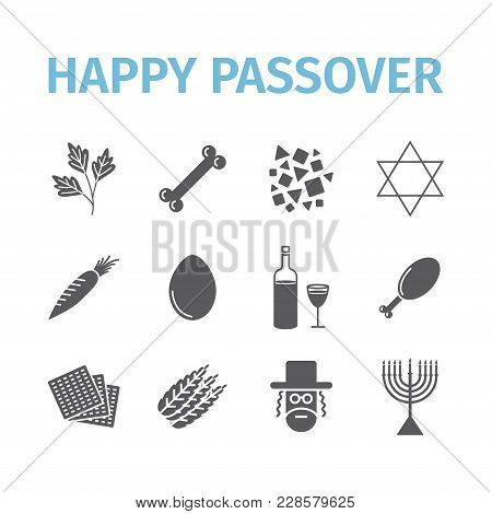 Passover Seder. Flat Icons Set. Vector Signs Vector Signs For Web Graphics.