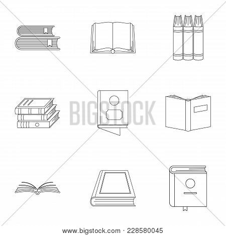 Reference Book Icons Set. Outline Set Of 9 Reference Book Vector Icons For Web Isolated On White Bac