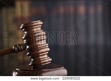 Justice Concept Background. Mallet On Glass Table.