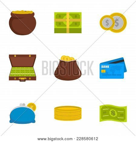 Necessary Financing Icons Set. Flat Set Of 9 Necessary Financing Vector Icons For Web Isolated On Wh
