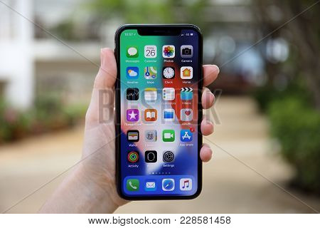 Koh Samui, Thailand - January 26, 2018: Woman Hand Holding Iphone X With Ios 11 On The Screen. Iphon