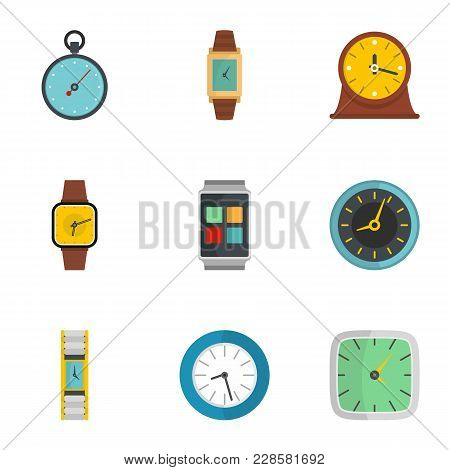 Clock Signal Icons Set. Flat Set Of 9 Clock Signal Icons For Web Isolated On White Background