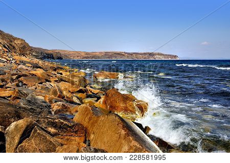 Stone Yellow Shore, Waves Breaking On The Shore