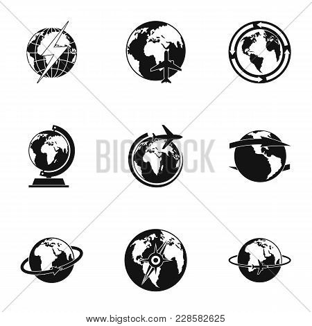 World Icons Set. Simple Set Of 9 World Vector Icons For Web Isolated On White Background