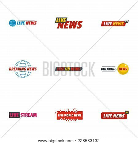 News Bulletin Icons Set. Flat Set Of 9 News Bulletin Vector Icons For Web Isolated On White Backgrou