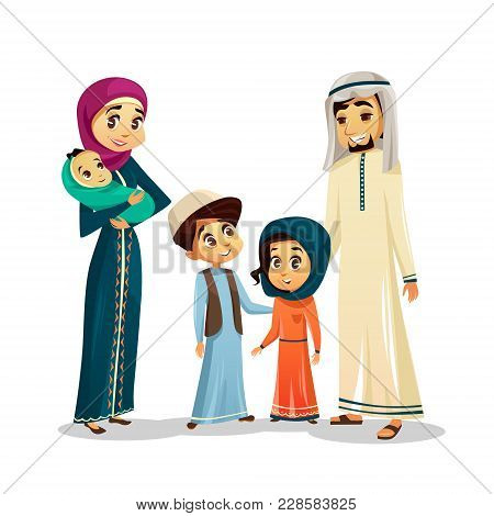 Arab Islamic Family In Traditional Clothing Vector Illustration. Happy Of Father And Mother Parents,