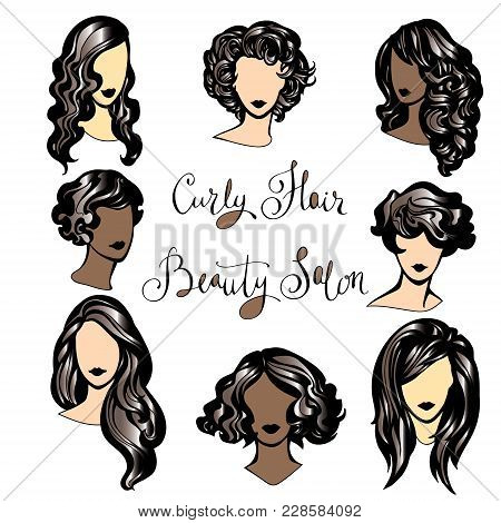 Vector Set Of Stylized Hairstyles Girls, Set Of Trendy Hairstyles For Curly Hair For Stylish Women,