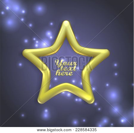 Isolated, Star Gold Banners. Quality, Vector Illustration