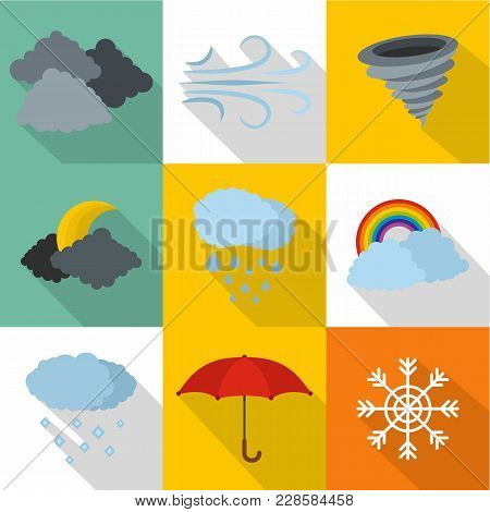 Atmospheric Icons Set. Flat Set Of 9 Atmospheric Vector Icons For Web Isolated On White Background