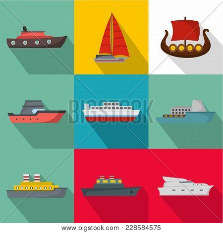 Seagoing Vessel Icons Set. Flat Set Of 9 Seagoing Vessel Vector Icons For Web Isolated On White Back