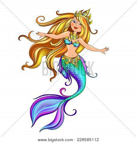 Vector Mythological Character Of The Beautiful Mermaid Princess In Turquoise Clothes With Ornaments.