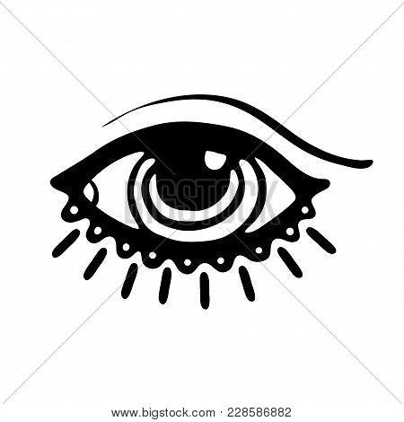 Hand Drawn Eye. Doodle Style. The Third Eye Vector Illustration.