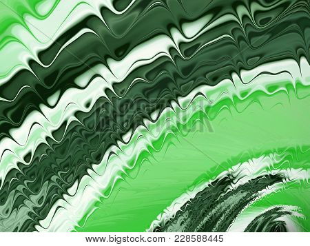 Abstract Fractal Green Background With Radial Effect Wave Forms