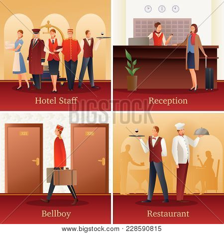 Hotel Staff 4 Flat Gradient Icons Concept With With Reception Front Desk Clerk And Bellboy Isolated