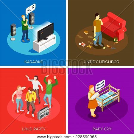 Neighbors Relations Isometric Design Concept With Karaoke, Untidy Person, Loud Party, Baby Cry Isola