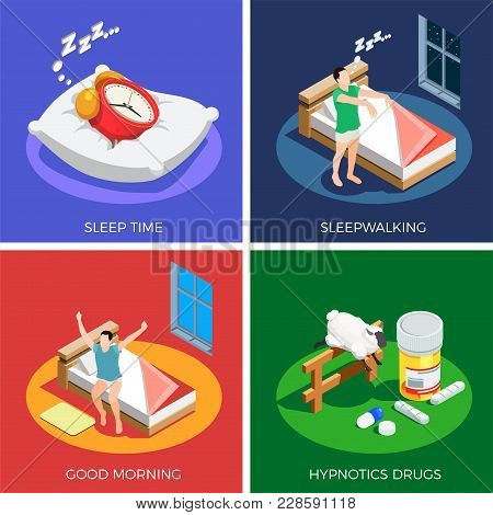 Sleep Time Isometric Design Concept With Walking During Dream, Healthy Awaking, Hypnotics Drugs Isol