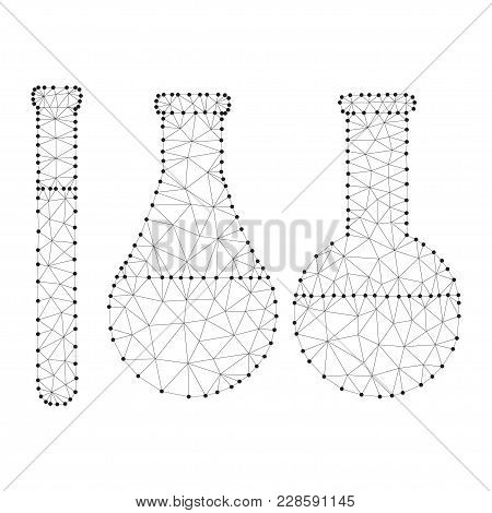 Polygonal chemistry glassware, test tubes isolated from polygon wireframe on white background. Low poly design for science and analyses. Abstract polygonal image mash line and point. Digital graphics poster