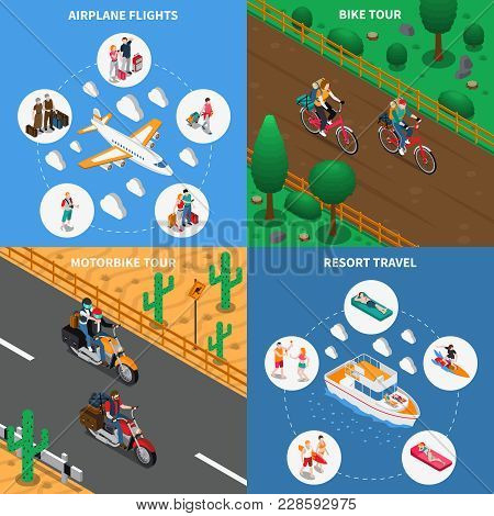 Traveling People Isometric Design Concept With Airplane Flights, Bicycle Tour, Motorbike Journey, Re