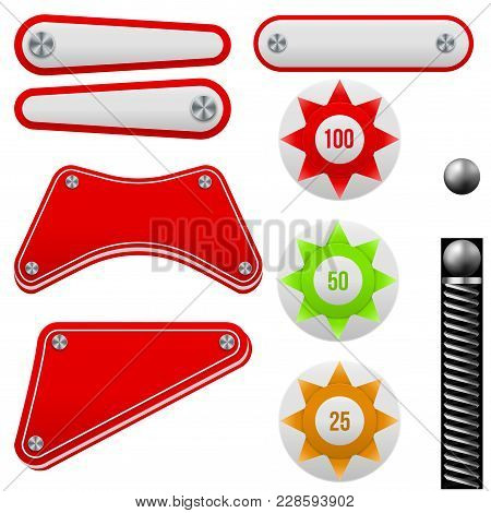 Pinball Set. Bumpers And Flippers Kit. Game Design And Creative Concepts. Vector Illustration Isolat