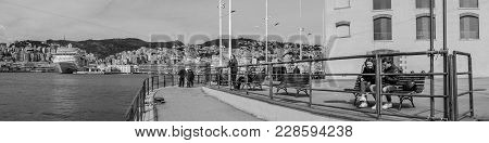 Genoa, Italy - April 21, 2016: Porto Antico Di Genova Panorama View Of The Old Italian Sea Port In G