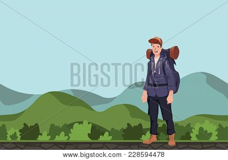 A Young Happy Man, Backpacker In A Hilly Area. Hiker, Explorer. Vector Illustration With Copy Space.