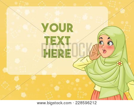 Veiled Young Muslim Woman Shout Using Her Hands, Cartoon Character Design, Against Yellow Background