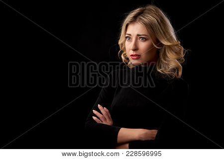 Cute Sad Woman In Black Turtle Neck Shirt