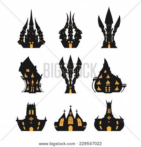 Halloween Castle Set For Halloween On A White Background