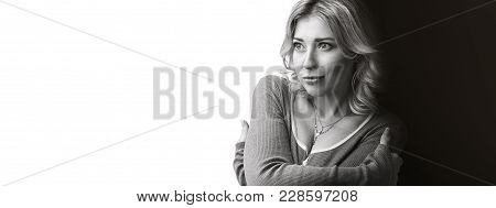 Black And White Portrait Of Cute Woman