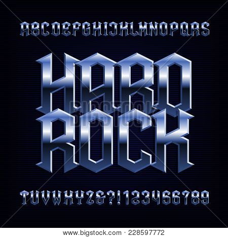 Hard Rock Alphabet Font. Metal Effect Letters, Numbers And Symbols. Stock Vector Typeface For Your D