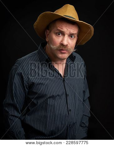 Funny Man With Mustache Wearing Shirt And Hat