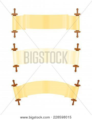 Scrolls Expanded Set, Jewish Torah Scroll, Blank Parchment Scroll, Design Element, Isolated On White