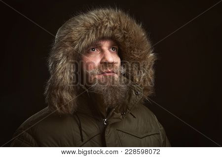 Bearded Man In Brown Fur Coat
