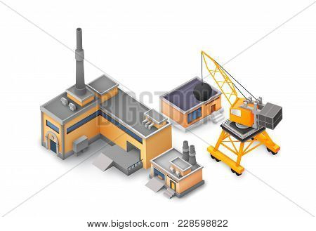Factory Objects Design Concept On White Background With Industrial Constructions, Yellow And Grey Bu